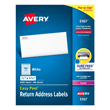 "Avery Easy Peel White Address Labels for Laser Printers (1/2"" x 1 3/4"") (80 Labels/Sheet) (100 Sheets/Box)"
