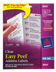 "Avery Easy Peel Clear Address Labels for Inkjet Printers (1"" x 2 5/8"") (30 Labels/Sheet) (25 Sheets/Pkg)"